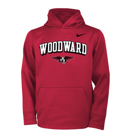 NIKE Youth Therma Hooded Sweatshirt in Red