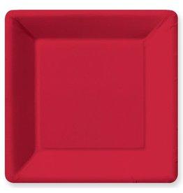 Design Design PLATE SQ DINNER PEBBLE RED