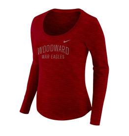 NIKE Ladies Dry Slub LS Scoop Neck in Red