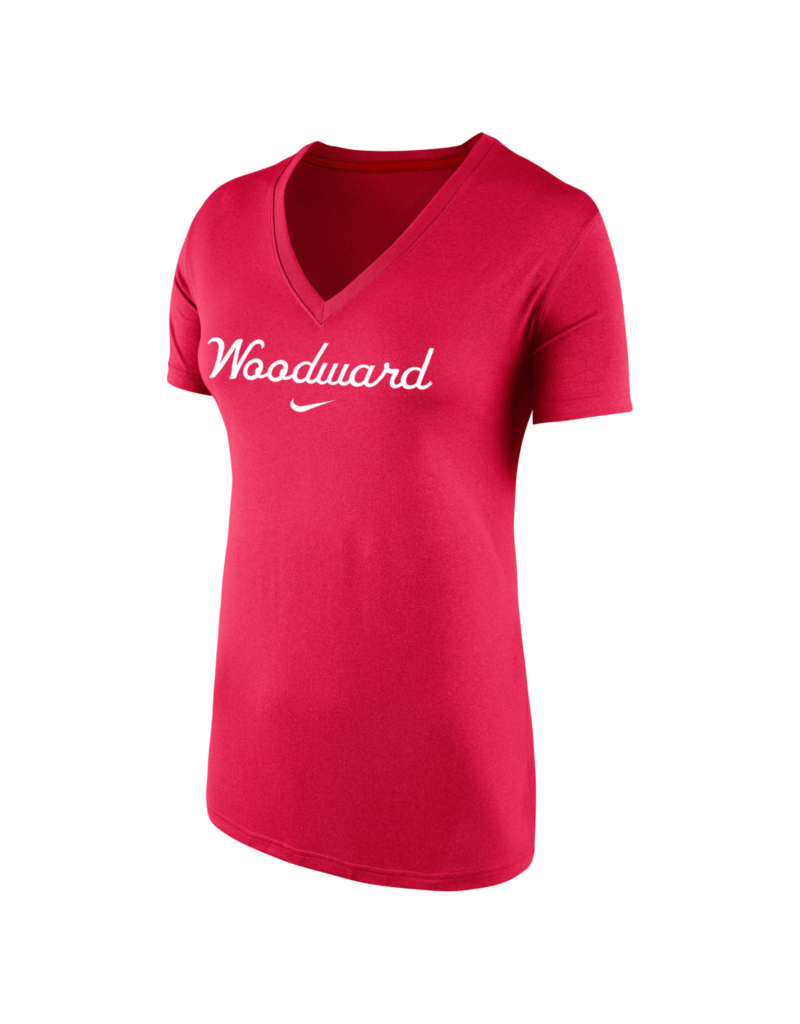 NIKE Ladies Legend Dri-Fit SS V-Neck in Red