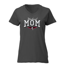 Ouray Woodward Mom V-Neck SS Tee in Grey
