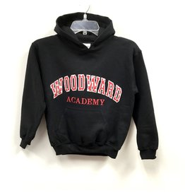 Youth Red Dot Applique Hooded Sweatshirt in Black