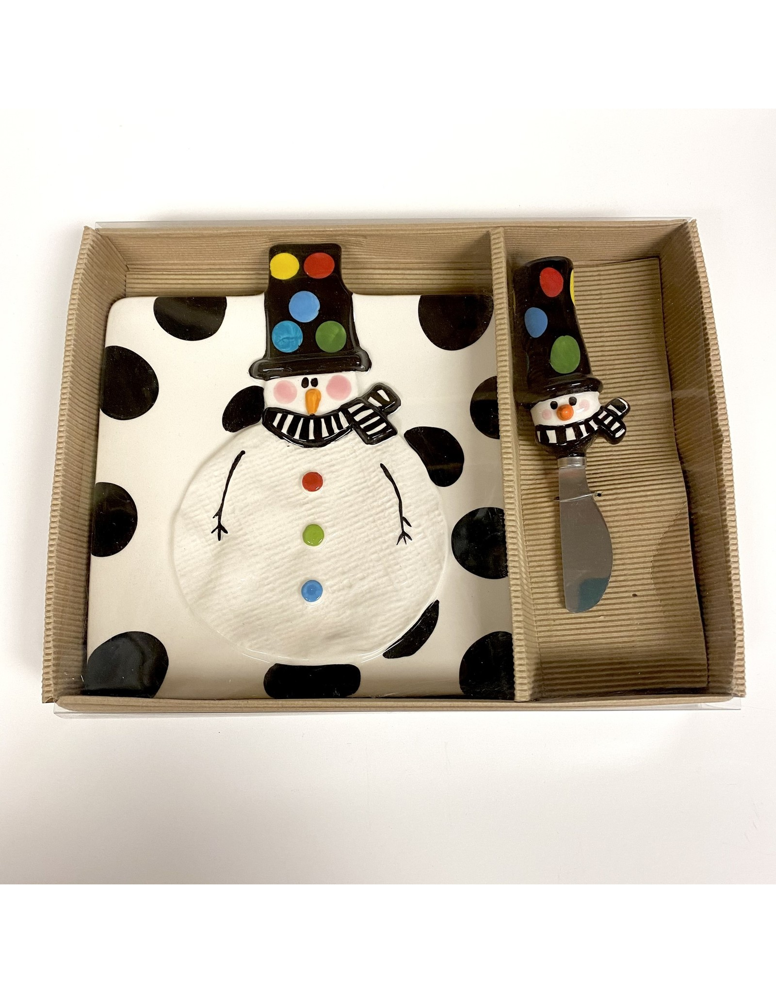 Mud Pie Holiday Snowman Cheese Plate and Spreader by MudPie
