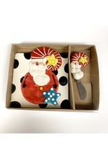 Mud Pie Holiday Santa Cheese Plate and Spreader by MudPie