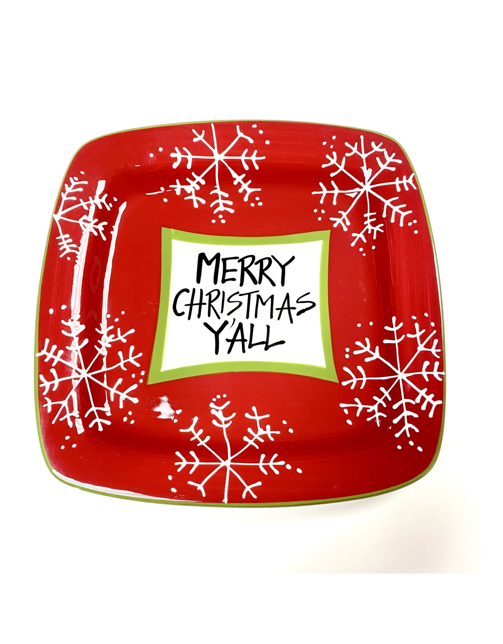 PLATE ML MERRY CHRISTMAS Y'ALL SQUARE