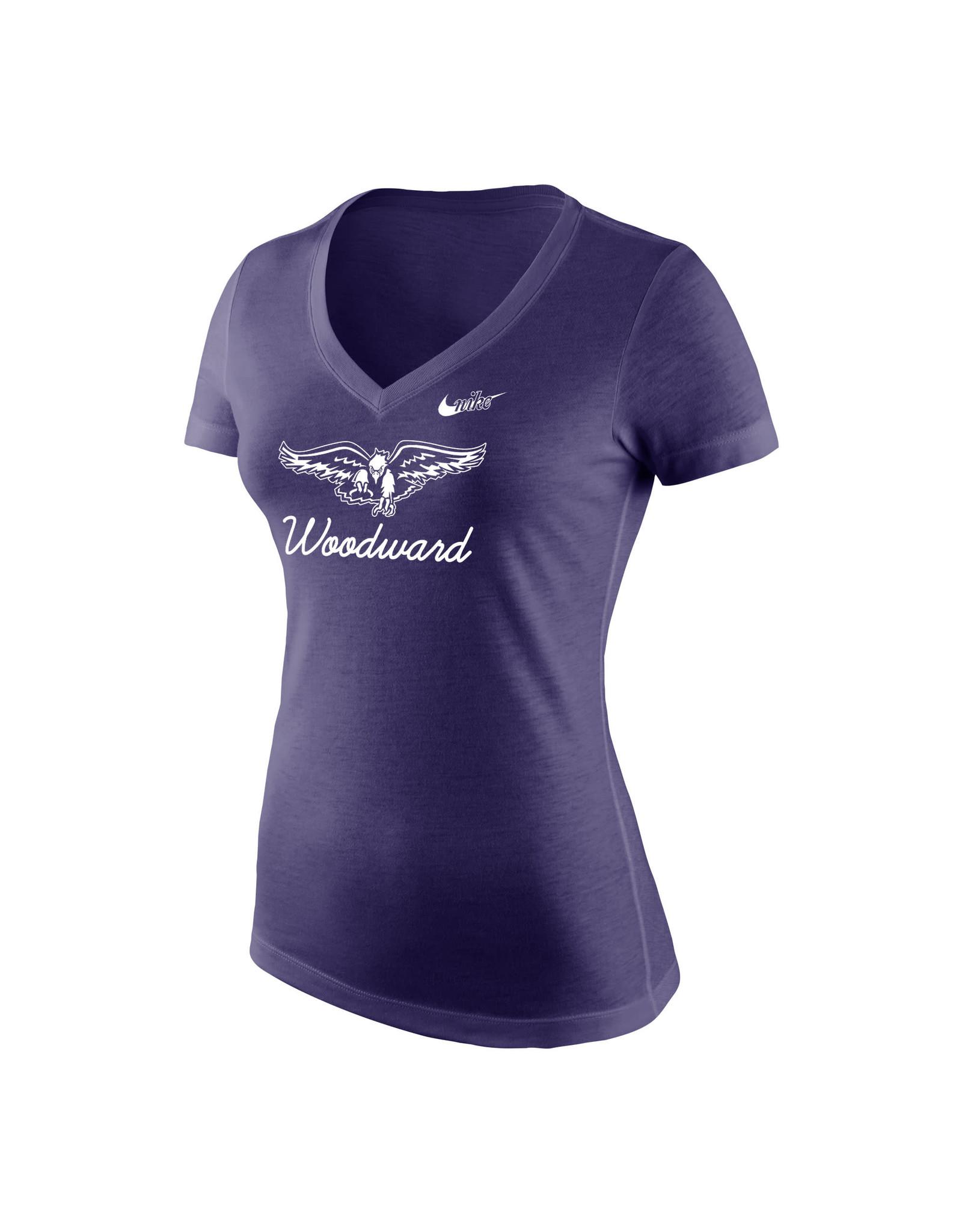 NIKE NIKE Ladies Tri-Blend Mid V Tee in Purple Heather