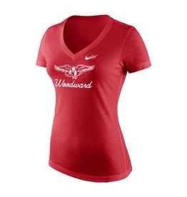 NIKE NIKE Ladies Tri-Blend Mid V Tee in  Red Heather