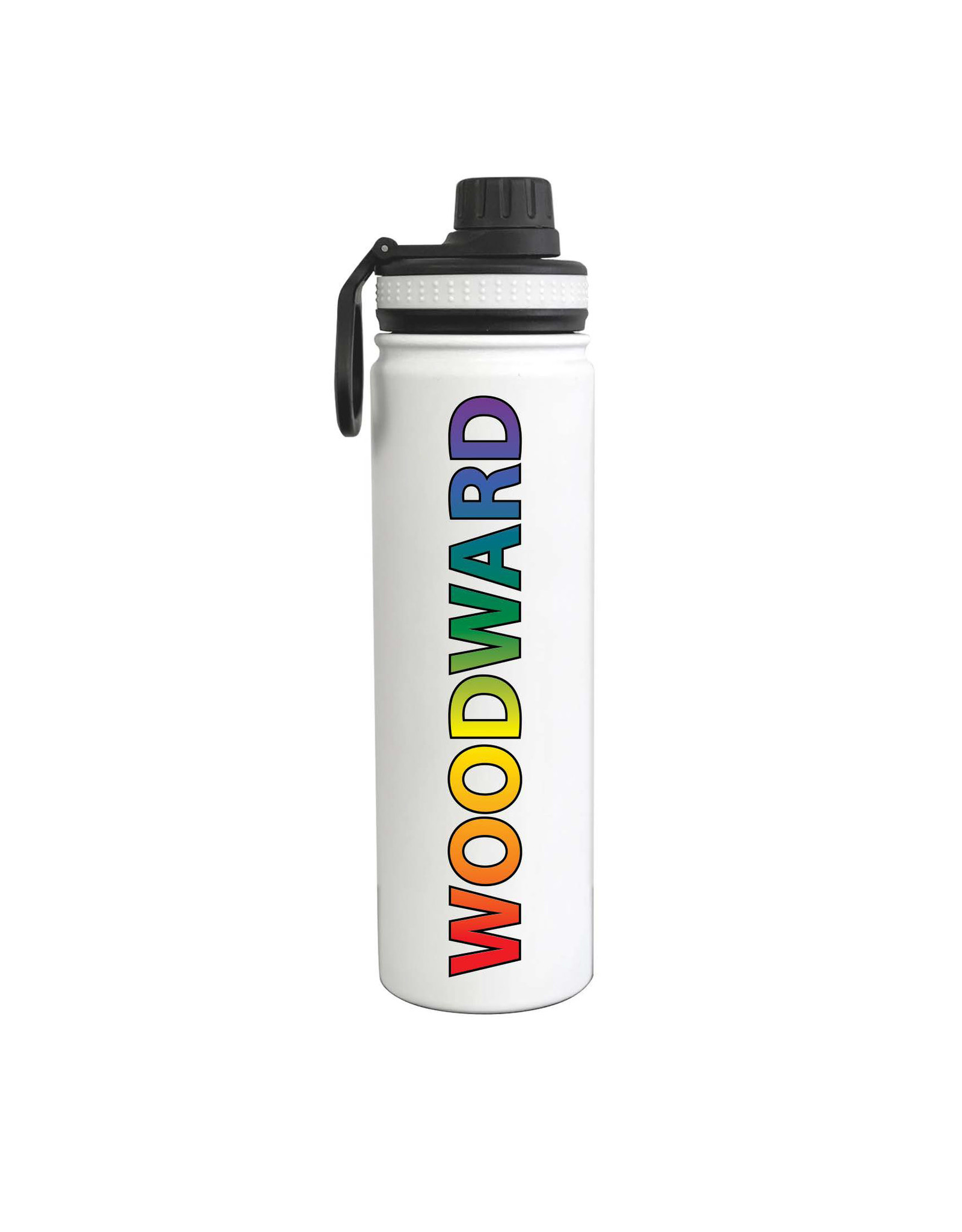 Fanatic Group 24oz Stainless Sport Water Bottle in White/Multi-Color