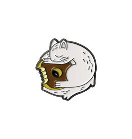 Happy Worker Squirrel Pin, White