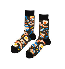 Yellow Owl Black Breakfast Socks, M-L