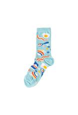 Yellow Owl Light Blue Breakfast Socks, S-M