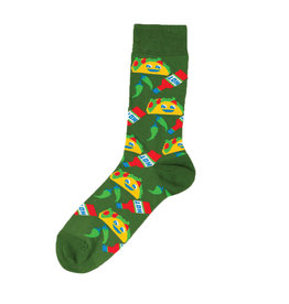 Yellow Owl Green Taco Socks, M-L
