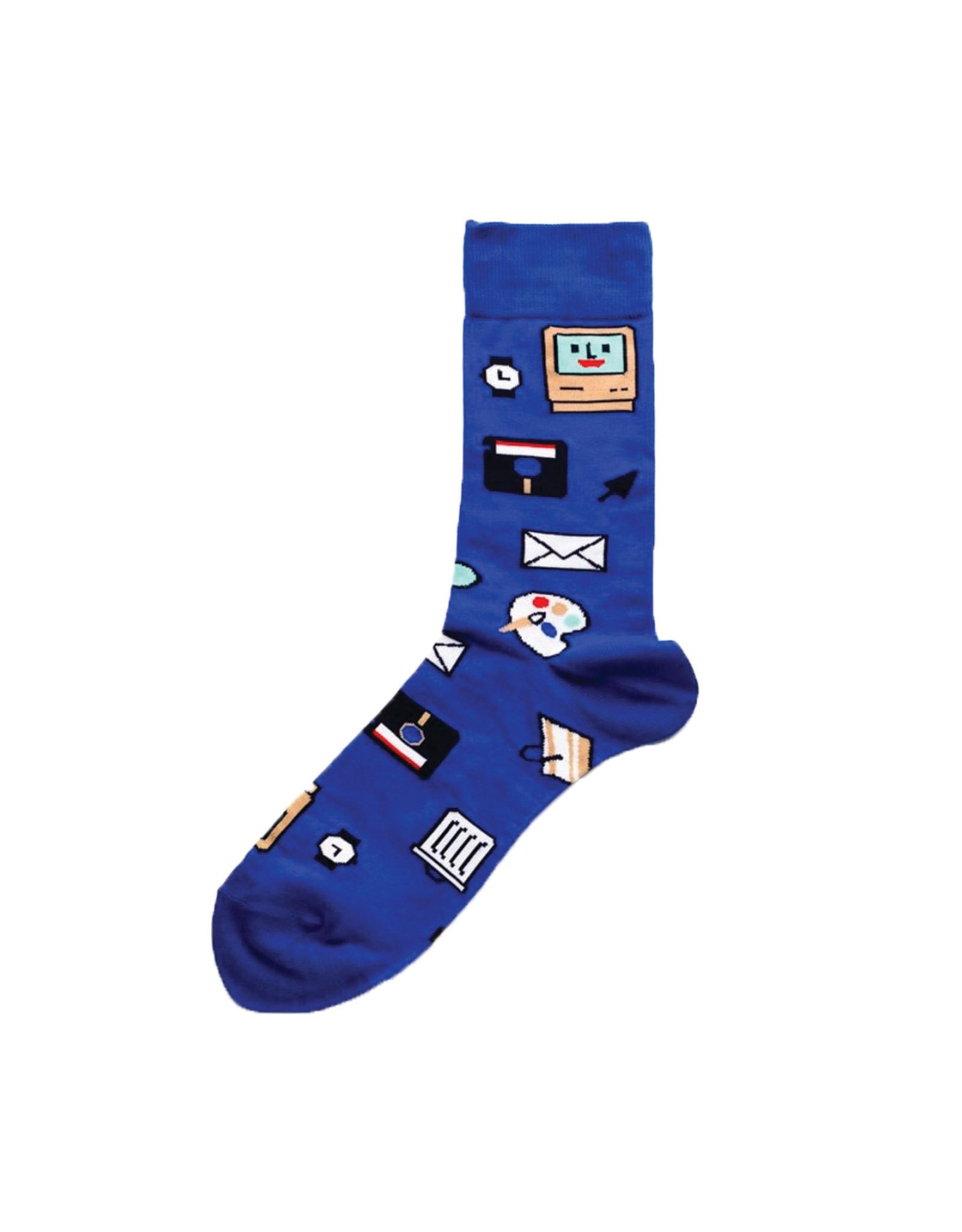 Yellow Owl Blue Computer Socks, M-L