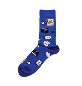 Yellow Owl Blue Computer Socks, M-L
