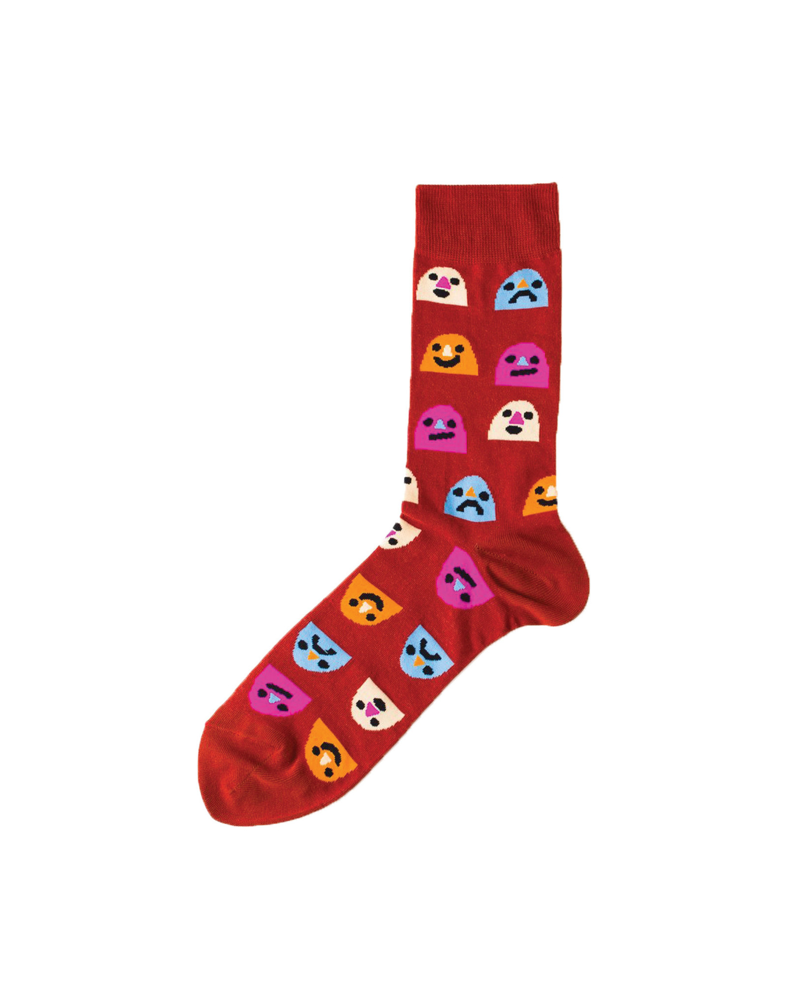 Yellow Owl Red Mixed Emotions Socks, M-L