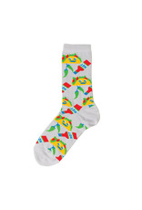 Yellow Owl Grey Taco Socks, S-M