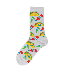 Yellow Owl Grey Taco Socks, S-M