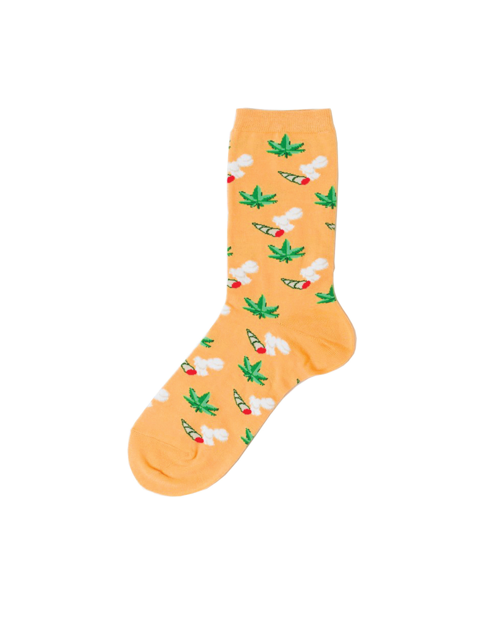 Yellow Owl Orange Weed Socks, S-M
