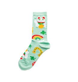 Yellow Owl Teal Lucky Cat Socks, S-M