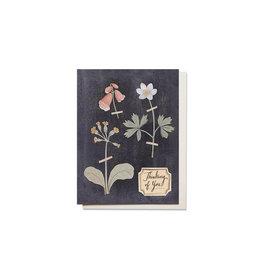 Red Cap Pressed Flowers Sympathy Card