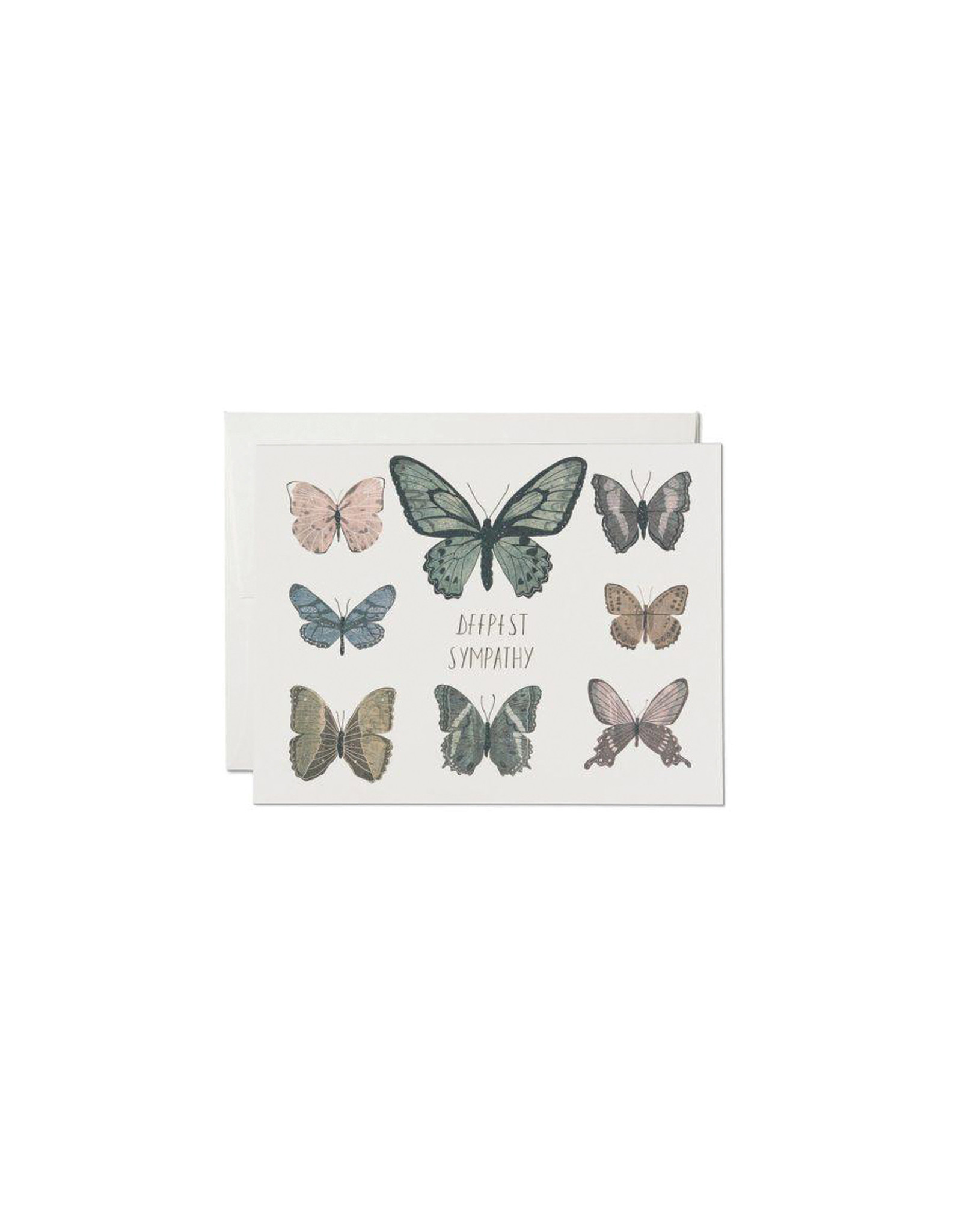 Red Cap Sympathy Butterflies Card