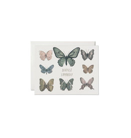 Red Cap Sympathy Butterflies Card