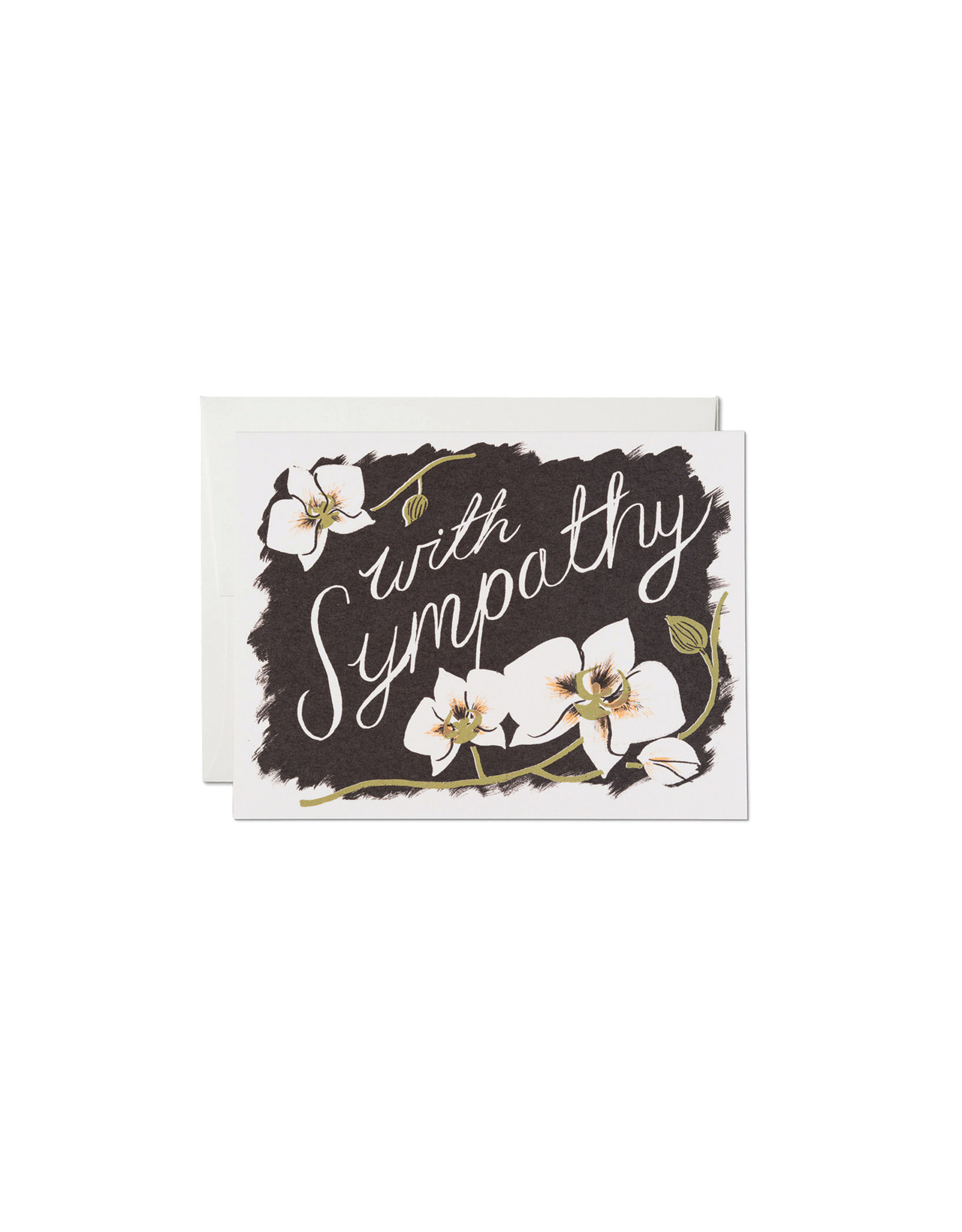 Red Cap Sympathy Orchids Card
