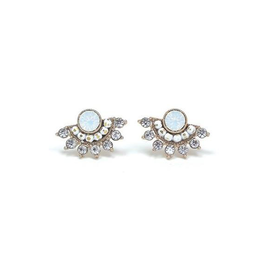 Lover's Tempo Nico Fan Earrings, White Opal
