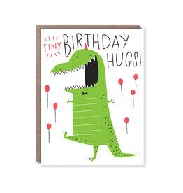 Hello Lucky Tiny T-Rex Hugs Birthday Card