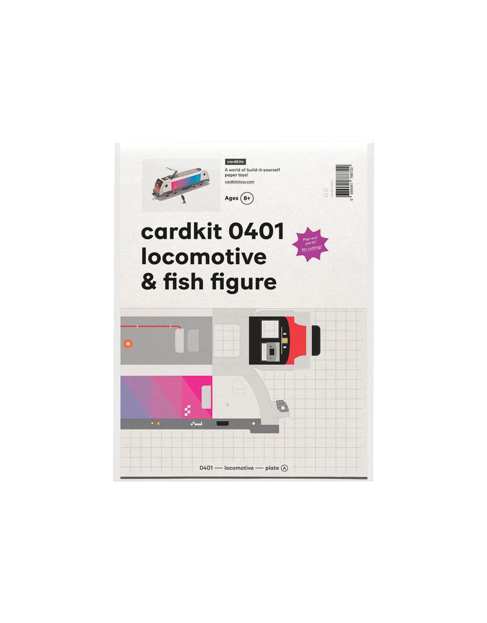 cardkit 0401: locomotive & fish figure