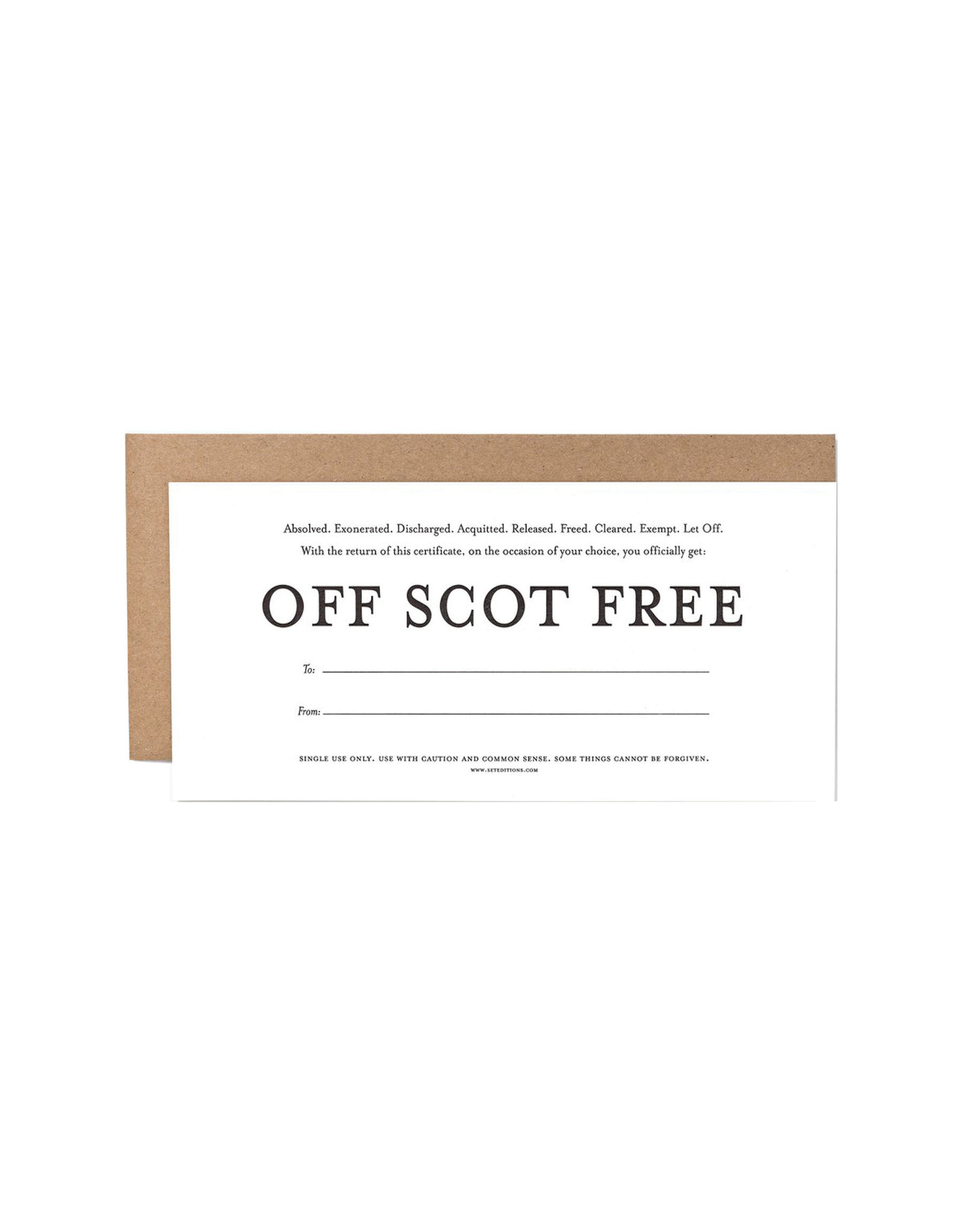 Set Editions Gift Certificate, Off Scot Free