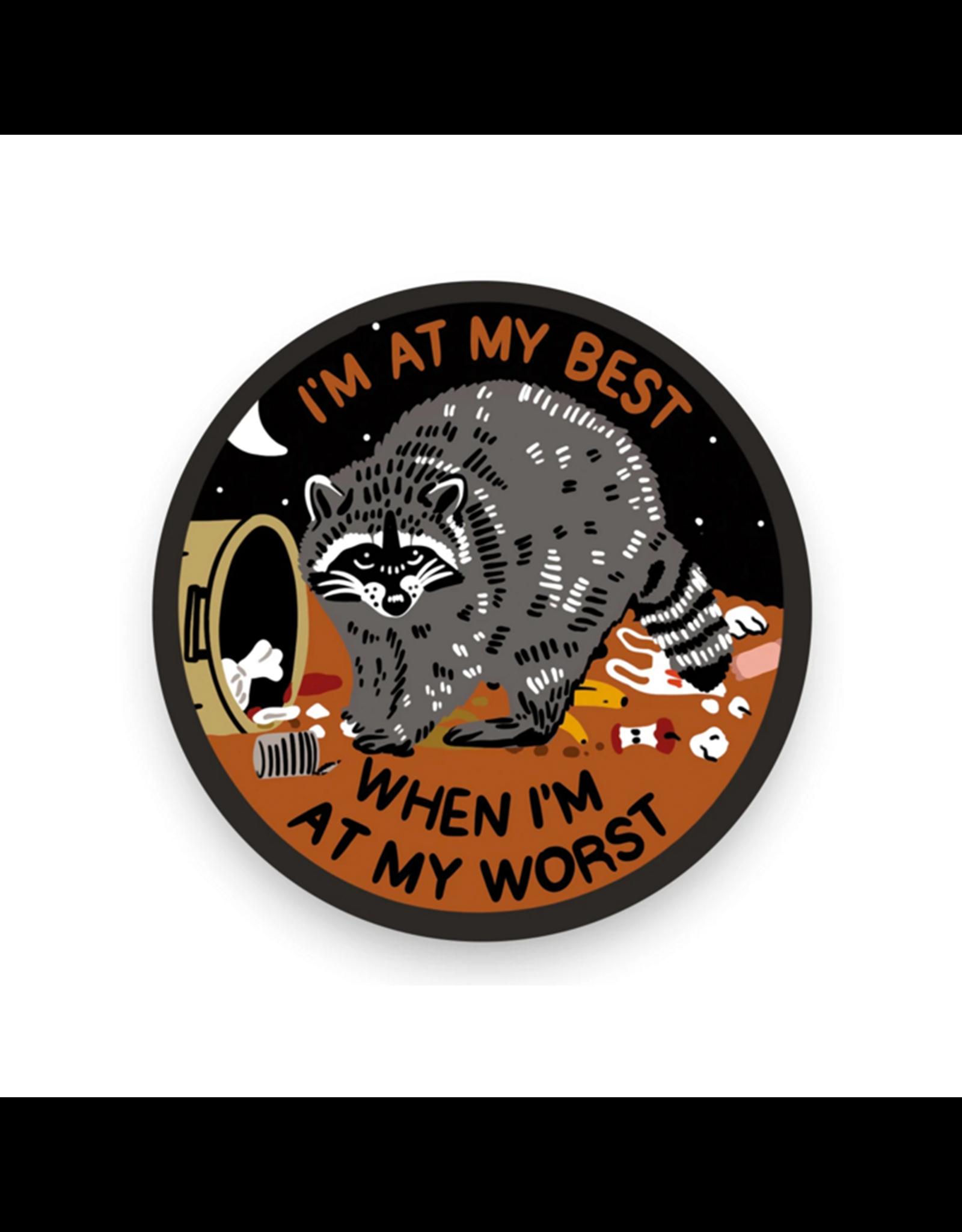 Stay Home Club At My Best Raccoon Vinyl Sticker