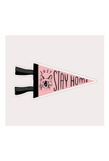 Stay Home Club Cat Pennant Vinyl Sticker