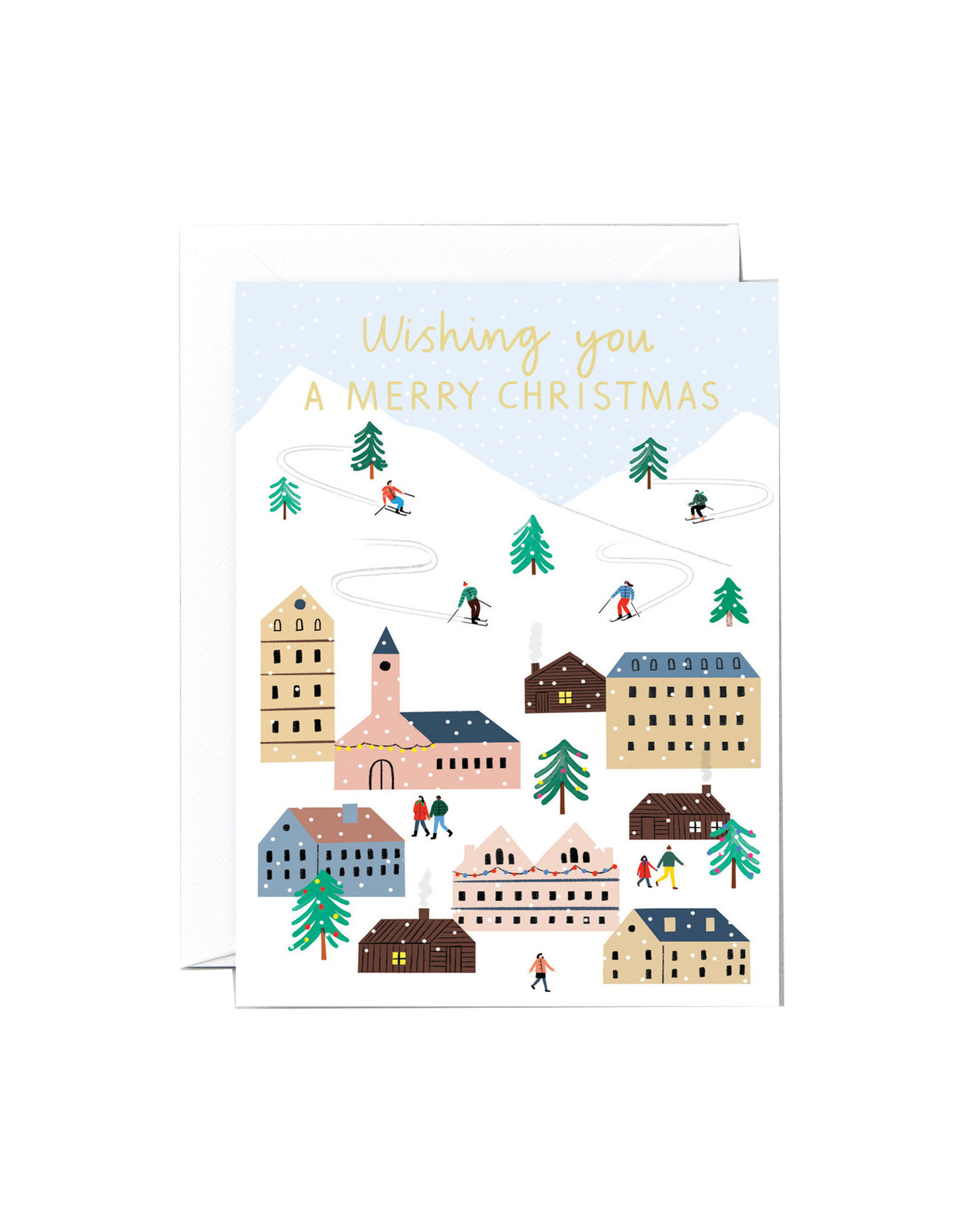 Wrap Card, Christmas Ski Village