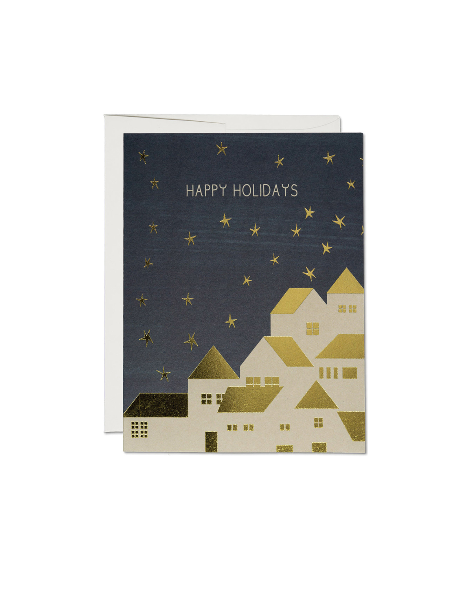 Red Cap Gold Houses Card