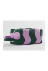 Baggu Dopp Kit, Pink and Green Wavy Stripe