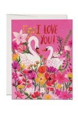 Red Cap Swans I Love You Card