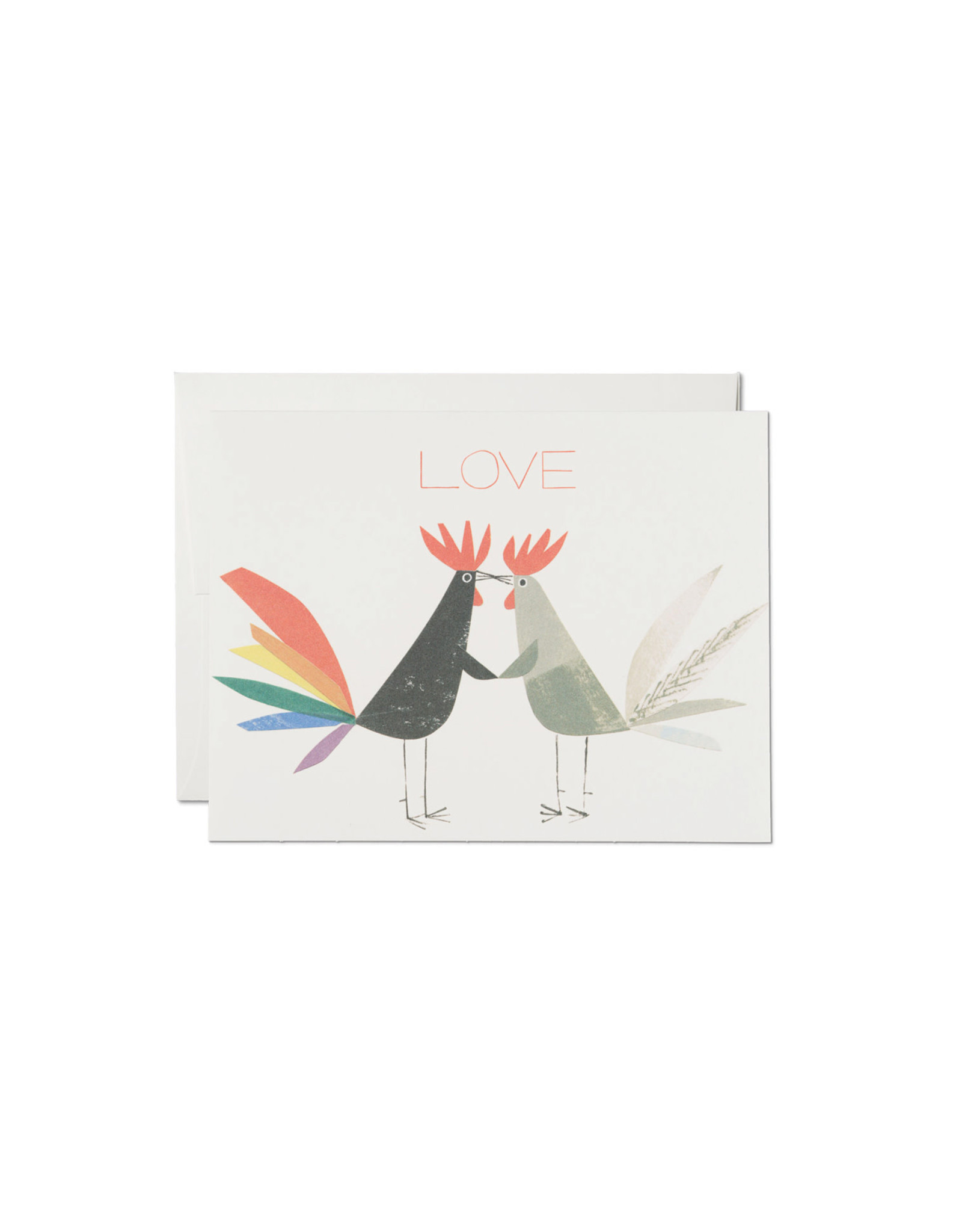 Red Cap Rooster Love Card