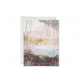 Red Cap Valentine Swans Card