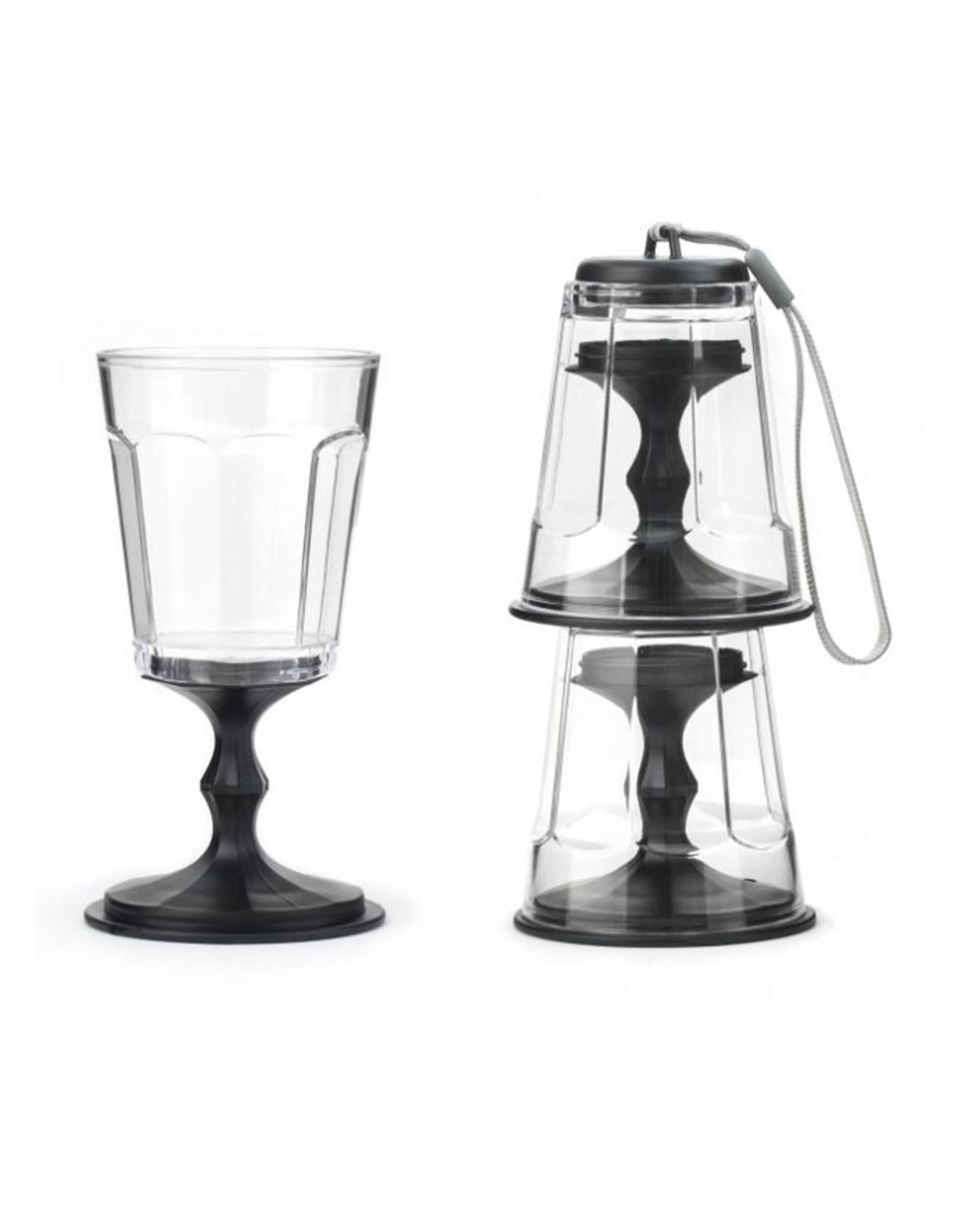 Kikkerland Portable Stackable Wine Glasses, Set/2, Black