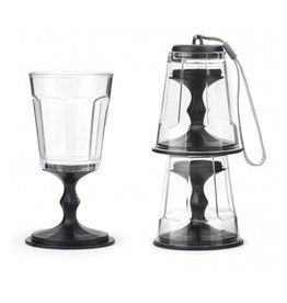 Kikkerland Portable Stackable Wine Glasses, Set/2, Black