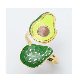 Yellow Owl Ring, Avocado