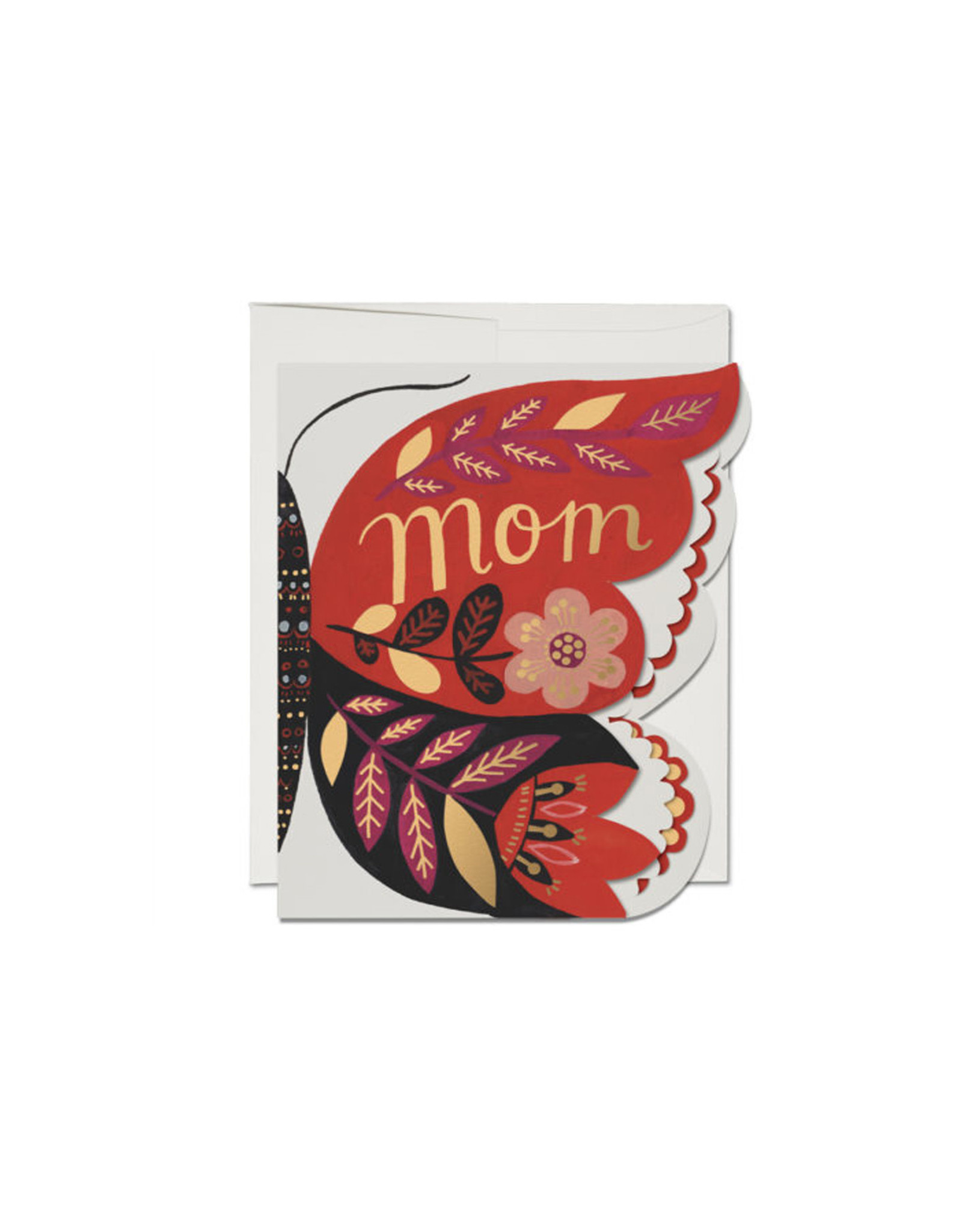 Red Cap Butterfly Mom Card