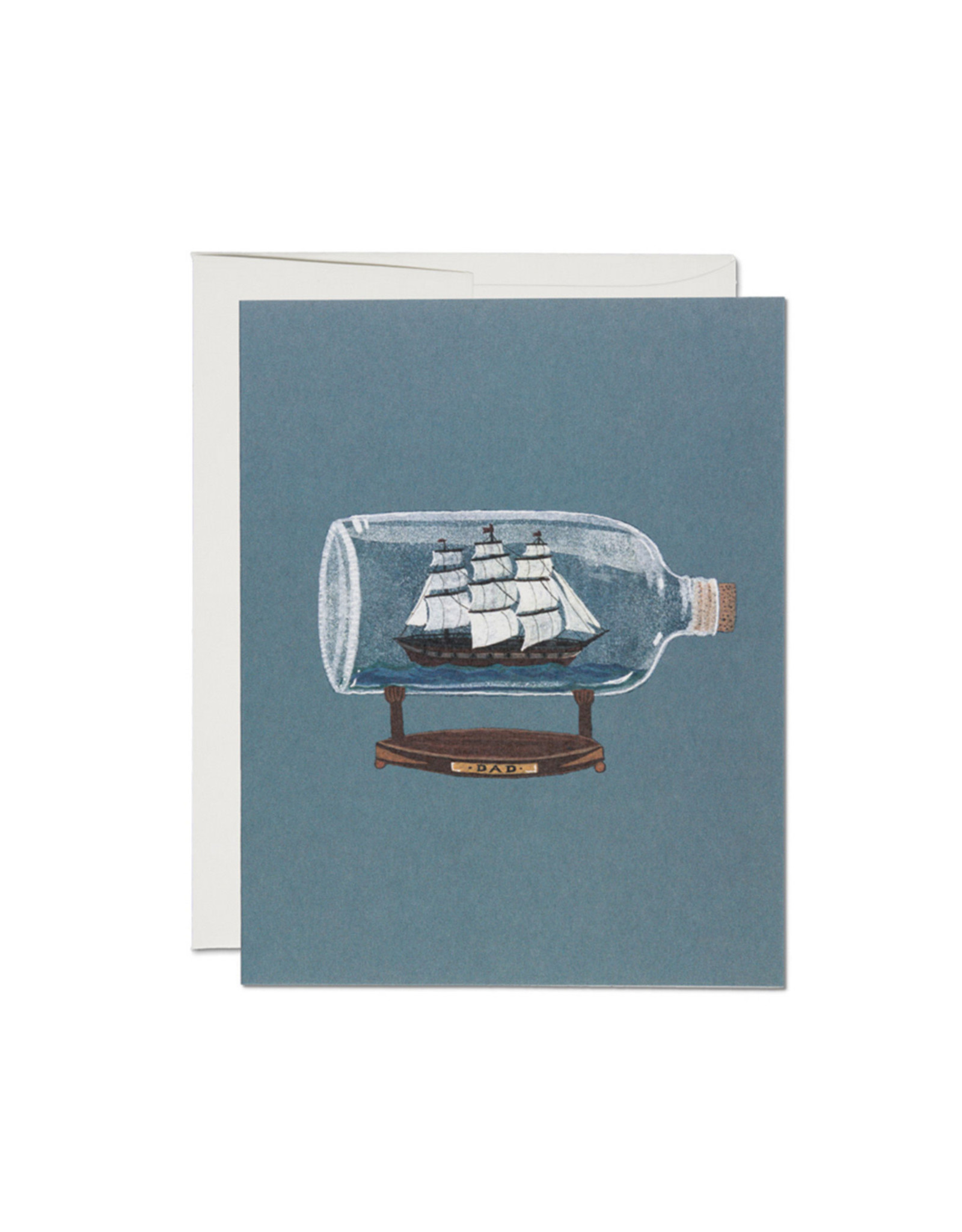 Red Cap Ship in a Bottle Father's Day Card