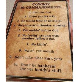 """RIVERS EDGE RE TIN SIGN """"COWBOY 10 COMMANDMENTS"""""""