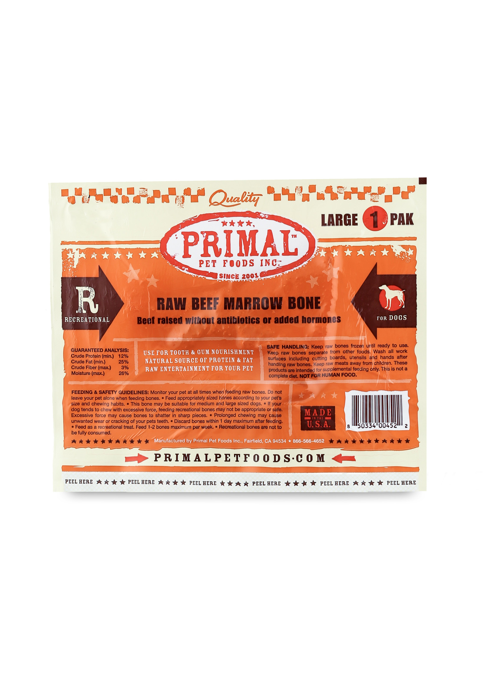 PRIMAL PET FOODS Primal Raw Beef Bone Single Lg.