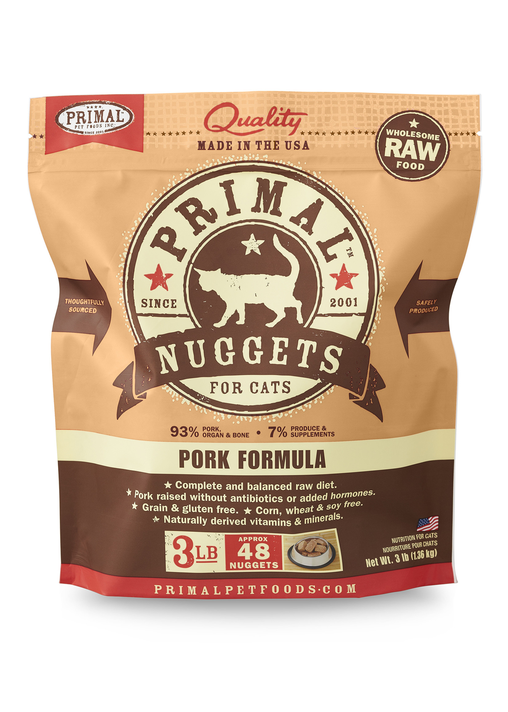PRIMAL PET FOODS Primal Cat Raw Pork Nuggets, 3 lb.