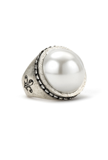 FRENCH KANDE SWAROVSKI SIGNET RING WITH PEARL CABOCHON
