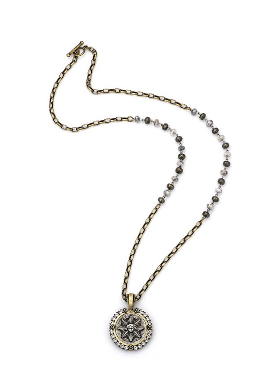 FRENCH KANDE Silverite, Pyrite and Chain with Sun King Medallion and Swarovski