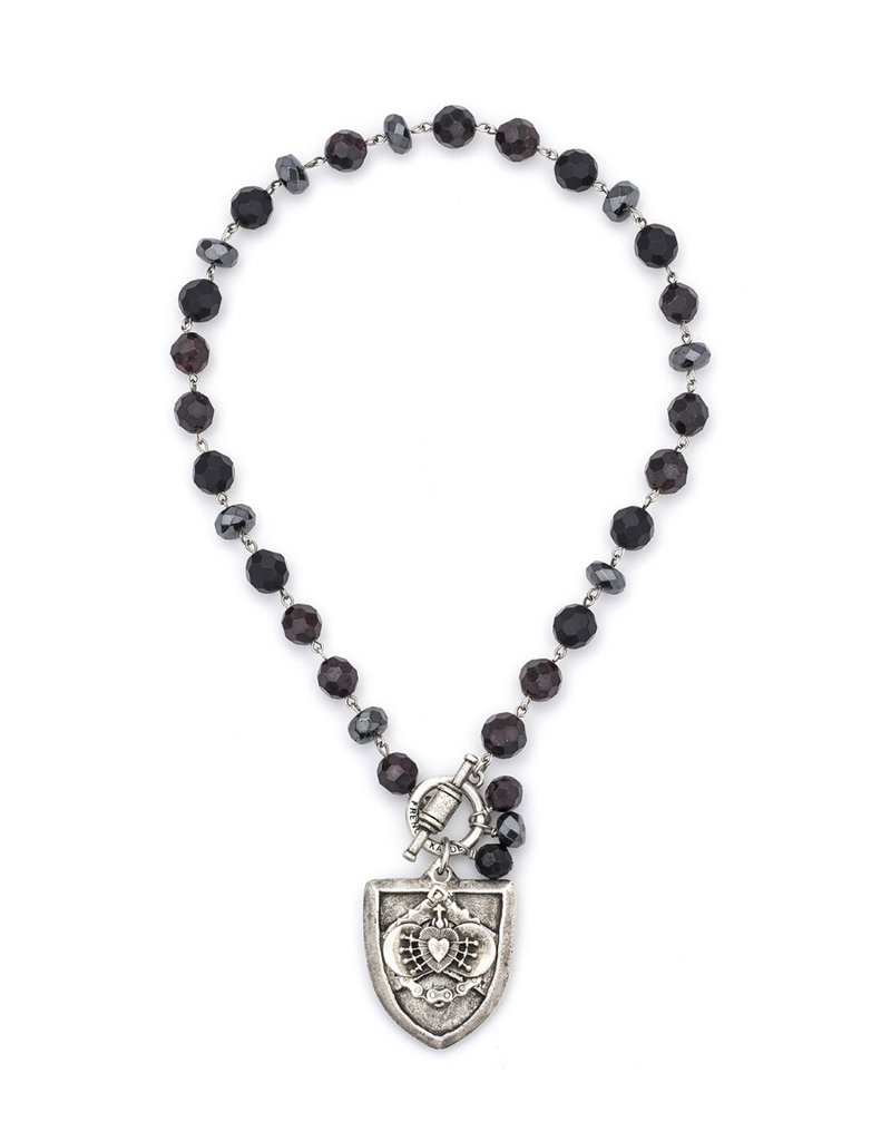 FRENCH KANDE NIGHT TIDE MIX WITH SILVER WIRE, BLACK CROWNING MARY MEDALLION AND TASSEL